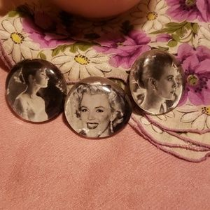 3 glass magnets Audrey Hepburn/Marilyn M.